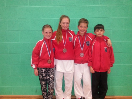 Well done to Sophie,Lewis, Calum and Charlotte who all competed as part of the WKU Squad in Dudley, West Midlands. Sophie Won Silver in Girls Team Kumite 16/17 years, Lewis won Silver in boys Kumite 10/11 years and Charlotte won Bronze in girls Kumite 10/11 years